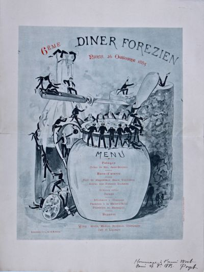 Dîner du 26 octobre 1885 6ème Dîner Forezien Restaurant Lemardelay Paris Illustration Poyet